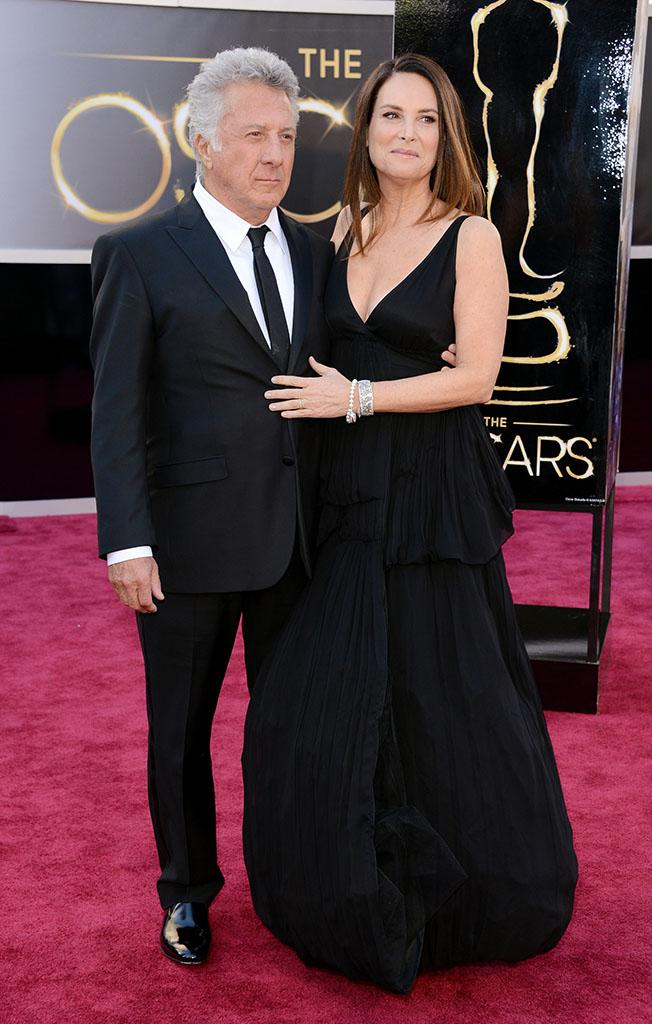 Dustin Hoffman and wife Lisa Hoffman arrive at the Oscars in Hollywood, California, on February 24, 2013.
