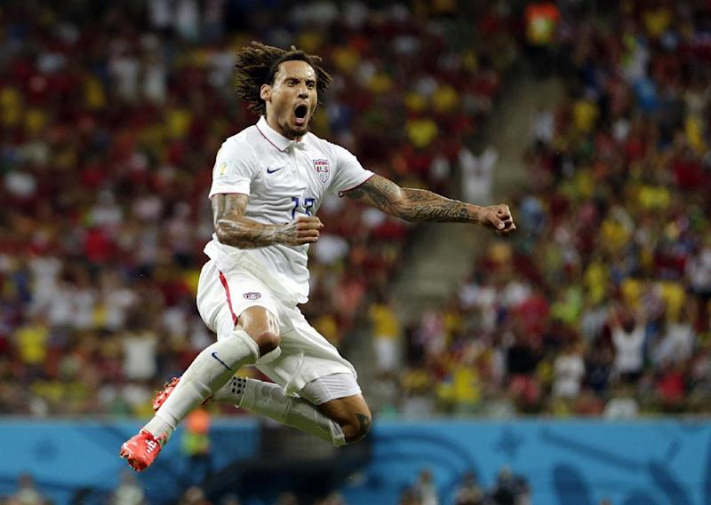United States' Jermaine Jones celebrates after scoring his side's first goal during the group G World Cup soccer match between the United States and Portugal at the Arena da Amazonia in Manaus, Brazil, Sunday, June 22, 2014