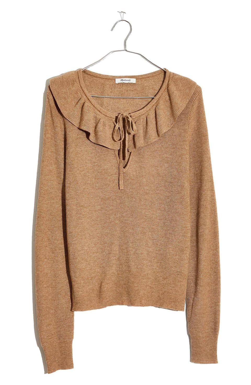 """<p><strong>MADEWELL</strong></p><p>nordstrom.com</p><p><strong>$42.90</strong></p><p><a href=""""https://go.redirectingat.com?id=74968X1596630&url=https%3A%2F%2Fwww.nordstrom.com%2Fs%2Fmadewell-tie-neck-ruffle-pullover-sweater%2F5707537&sref=https%3A%2F%2Fwww.elle.com%2Ffashion%2Fshopping%2Fg34741930%2Fnordstrom-12-days-of-cyber-savings-sale%2F"""" rel=""""nofollow noopener"""" target=""""_blank"""" data-ylk=""""slk:Shop Now"""" class=""""link rapid-noclick-resp"""">Shop Now</a></p>"""