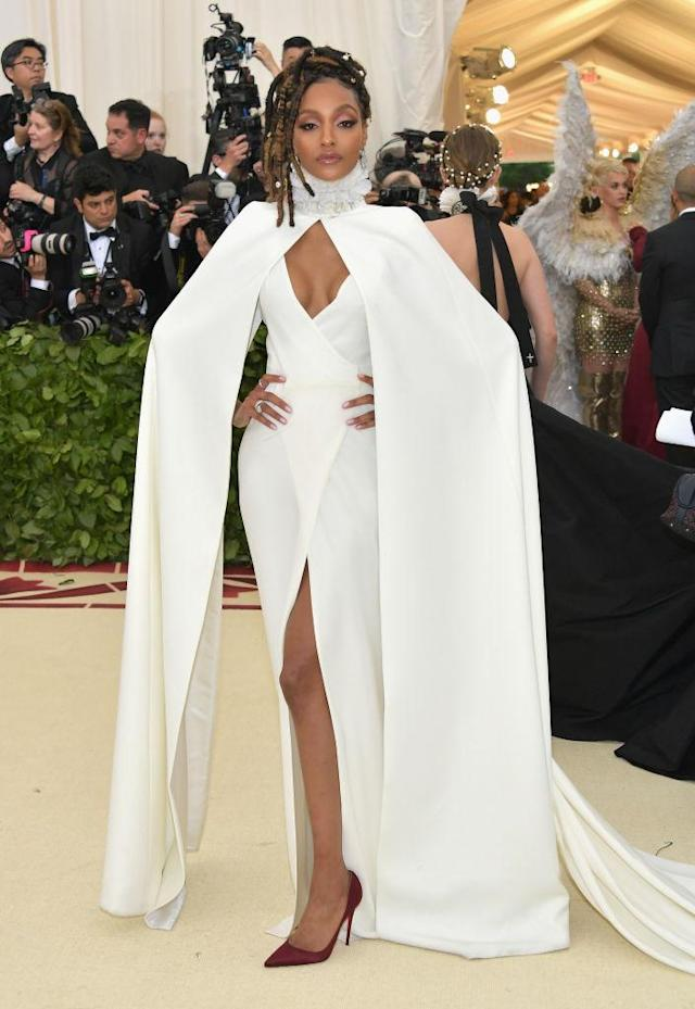<p>Jourdan Dunn attends the Heavenly Bodies: Fashion & The Catholic Imagination Costume Institute Gala at The Metropolitan Museum of Art on May 7, 2018 in New York City. (Photo: Getty Images) </p>