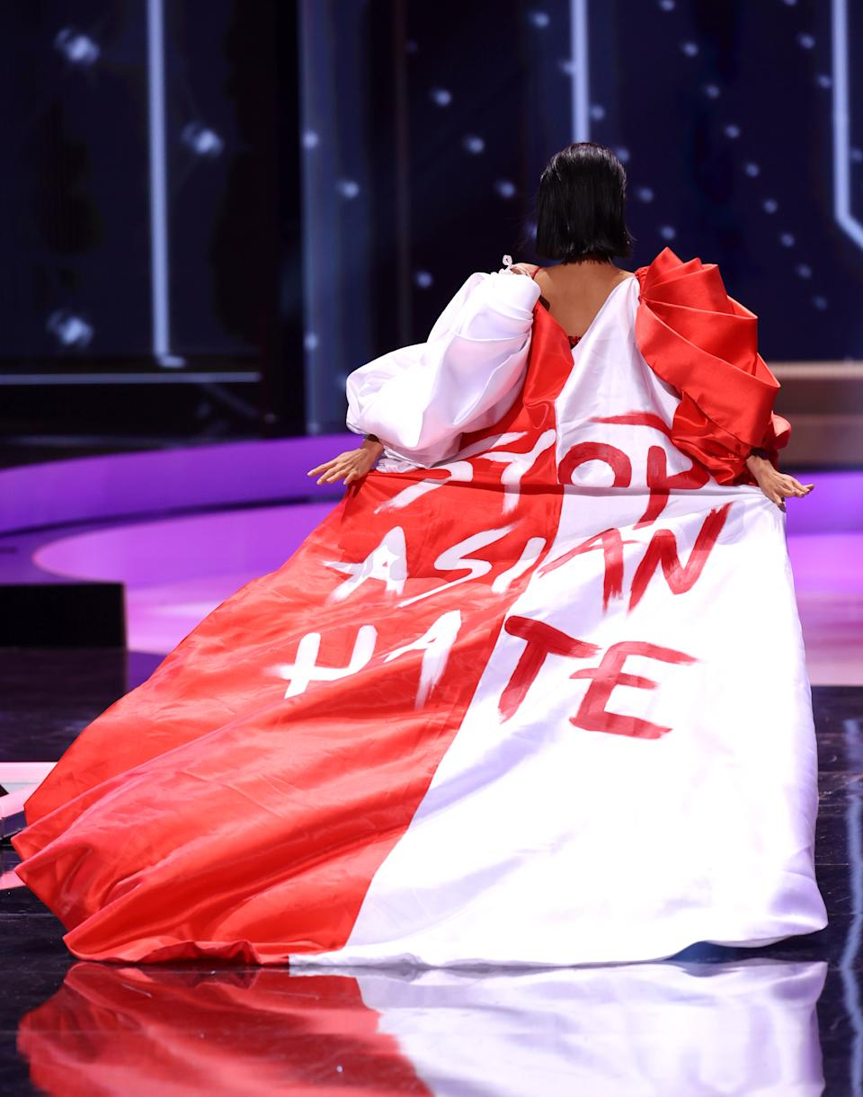 HOLLYWOOD, FLORIDA - MAY 13: Miss Universe Singapore Bernadette Belle Ong appears onstage at the Miss Universe 2021 - National Costume Show at Seminole Hard Rock Hotel & Casino on May 13, 2021 in Hollywood, Florida. (Photo by Rodrigo Varela/Getty Images)