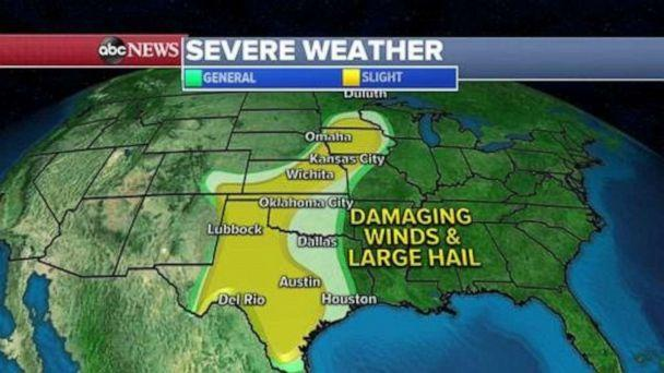 PHOTO: In addition to tornadoes, damaging straight line winds near 70 mph are possible with golf ball sized hail and flash flooding. (ABC News)