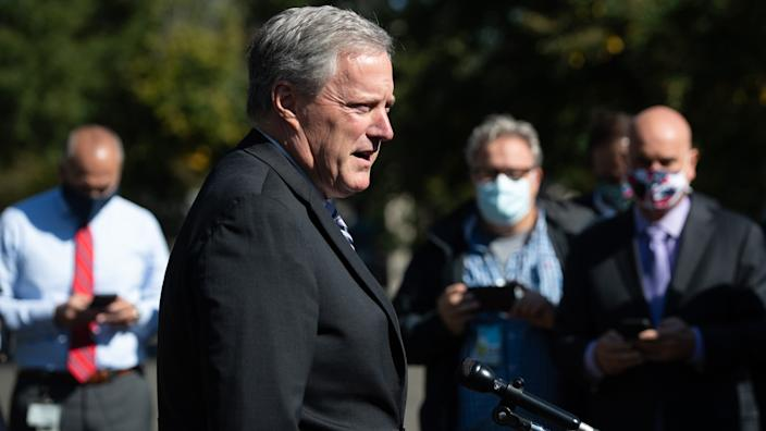 White House Chief of Staff Mark Meadows speaks to the media about US President Donald Trump at the White House in Washington, DC, October 2, 2020.(Saul Loeb/AFP via Getty Images)