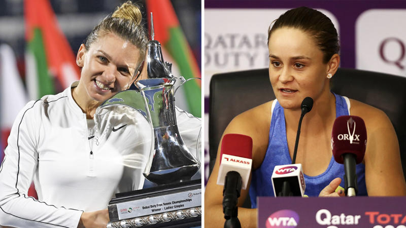 Simona Halep (pictured left) with a trophy and Ash Barty (pictured right) speaking to the media.