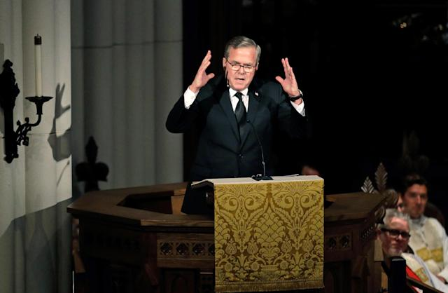 <p>Former Florida Governor Jeb Bush speaks during a funeral service for his mother, former first lady Barbara Bush at St. Martin's Episcopal Church, April 21, 2018 in Houston, Texas. (Photo: David J. Phillip-Pool/Getty Images) </p>