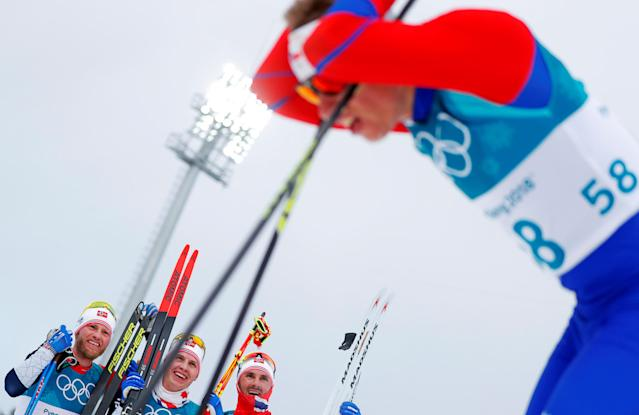 "Cross-Country Skiing - Pyeongchang 2018 Winter Olympics - Men's 15km + 15km Skiathlon - Alpensia Cross-Country Skiing Centre - Pyeongchang, South Korea - February 11, 2018 - Martin Johnsrud Sundby of Norway, Simen Hegstad Krueger of Norway and Hans Christer Holund of Norway react near Petr Knop of Czech Republic. REUTERS/Carlos Barria SEARCH ""OLYMPICS BEST"" FOR ALL PICTURES. TPX IMAGES OF THE DAY."