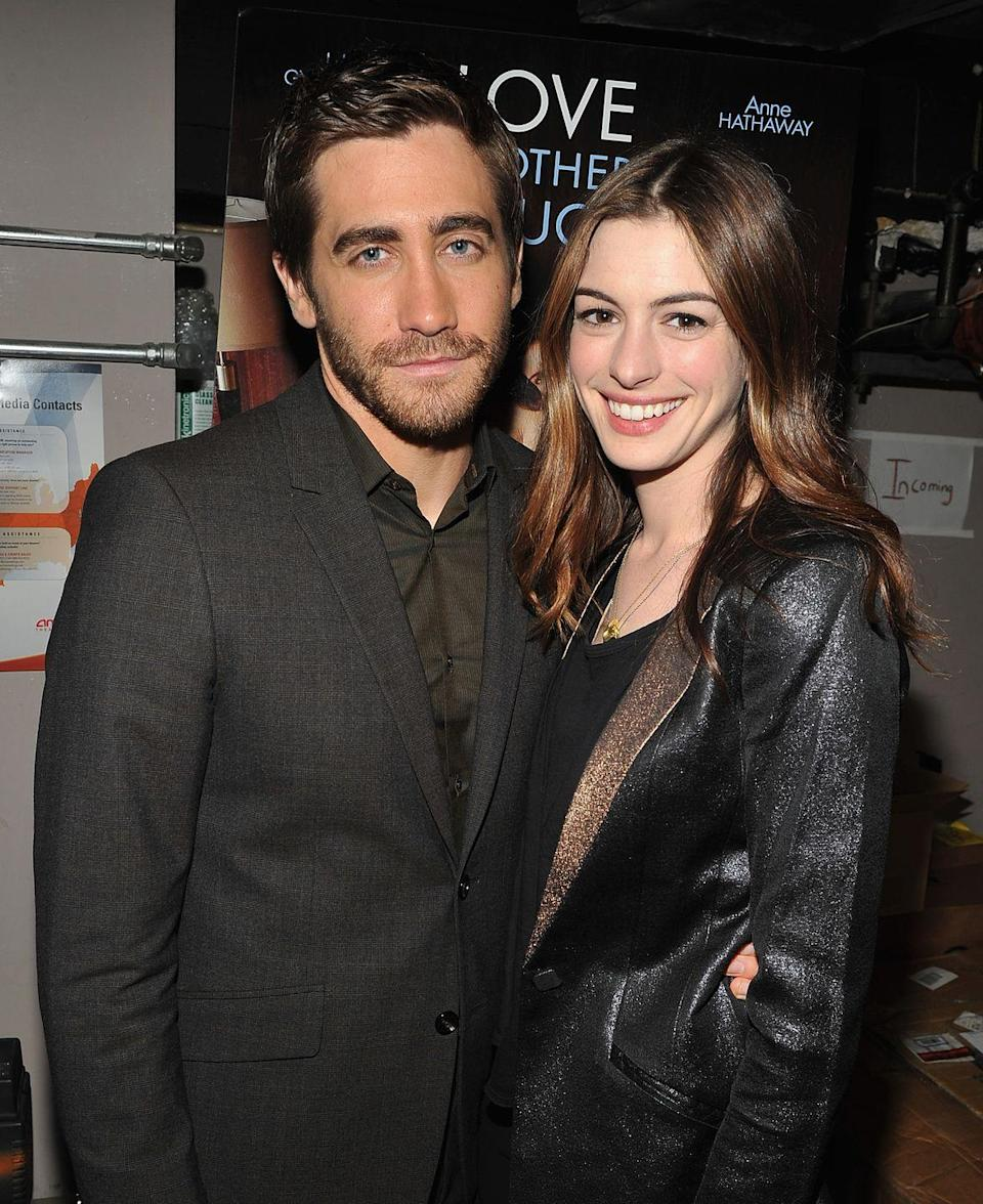 """<p><strong>Number of projects together: </strong>2 </p><p><strong>Projects: </strong><em>Brokeback Mountain</em> (2005), <em>Love & Other Drugs</em> (2010)</p><p>Though the pair have only been a romantic couple on the big-screen, Gyllenhaal had <a href=""""https://www.vanityfair.com/hollywood/2016/04/jake-gyllenhaal-crush"""" rel=""""nofollow noopener"""" target=""""_blank"""" data-ylk=""""slk:this to say"""" class=""""link rapid-noclick-resp"""">this to say</a> about his Oscar-winning co-star, """"She's one of the most adventurous people I've ever met. . . . When I first met her, and even now, even knowing her for a long time, Anne is somebody who would just not really want to get into the party—she is the life of the party and the person who will jump off the cliff first."""" </p>"""
