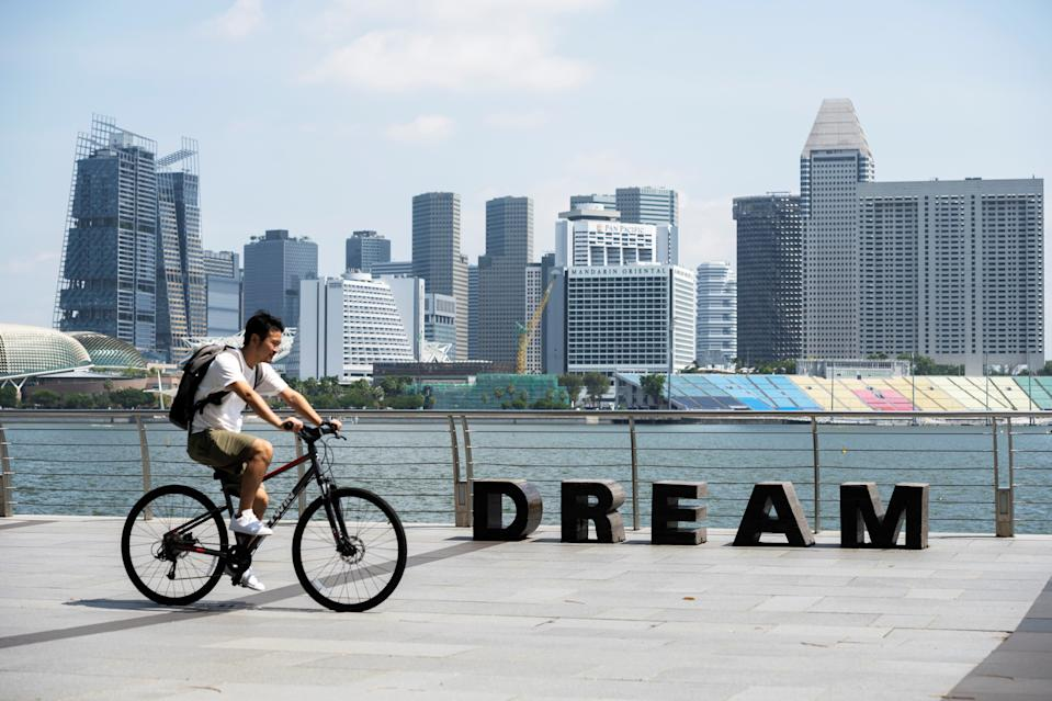A man seen cycling along Marina Bay. (Getty Images file photo)