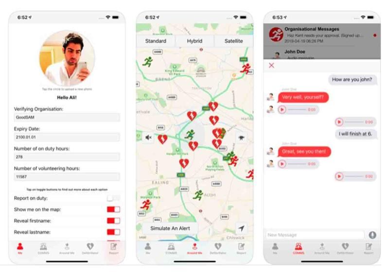An example of the GoodSAM mobile app which connects CPR-trained people to those who have suffered a cardiac arrest in their area.