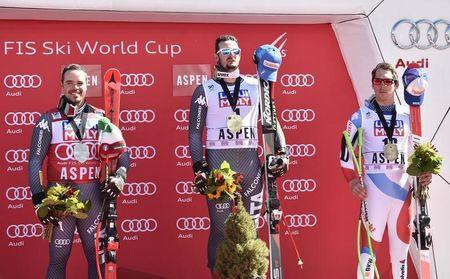 Mar 15, 2017; Aspen, CO, USA; From left Peter Fill of Italy , Domink Paris of Italy and Carlo Janka of Switzerland on the podium after the men's downhill alpine skiing race in the 2017 Audi FIS World Cup Finals at Aspen Mountain. Mandatory Credit: Michael Madrid-USA TODAY Sports
