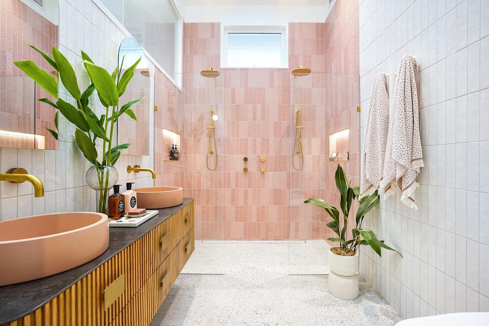 Jimmy and Tam's ensuite on The Block. Photo: Domain