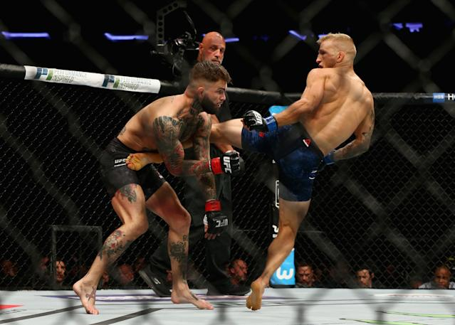 T.J. Dillashaw (R) kicks Cody Garbrandt during their UFC bantamweight championship bout at UFC 217. (Getty)
