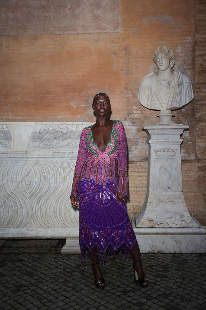 <p>The Brit wore a sequinned Gucci dress for their show.</p>