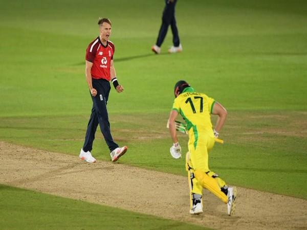 England pacer Tom Curran celebrating after two-run win over Australia (Photo/ICC Twitter)