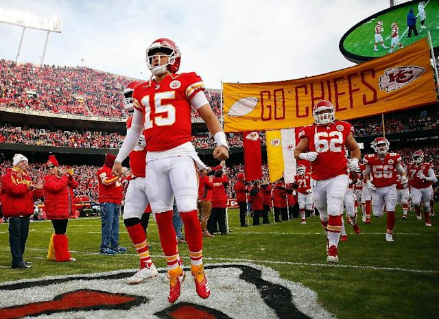 Kansas City Chiefs quarterback Patrick Mahomes is preparing to end his team's 26-year wait for a home playoff victory (AFP Photo/JAMIE SQUIRE)