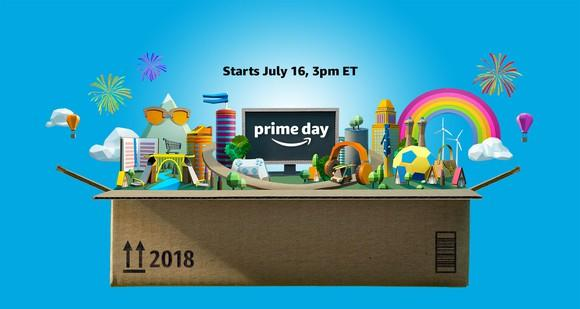 "An Amazon box with a variety of animated objects, announcing ""Prime Day, starts July 16, 3 pm ET"""