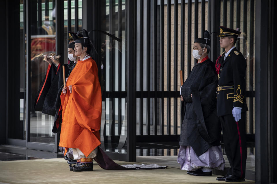 Japanese Crown Prince Fumihito, better known as Prince Akishino, leaves the Imperial Palace after being formally declared first in line to succeed the Chrysanthemum Throne during a ceremony Sunday, Nov. 8, 2020 in Tokyo, Japan. (Carl Court/Pool Photo via AP)