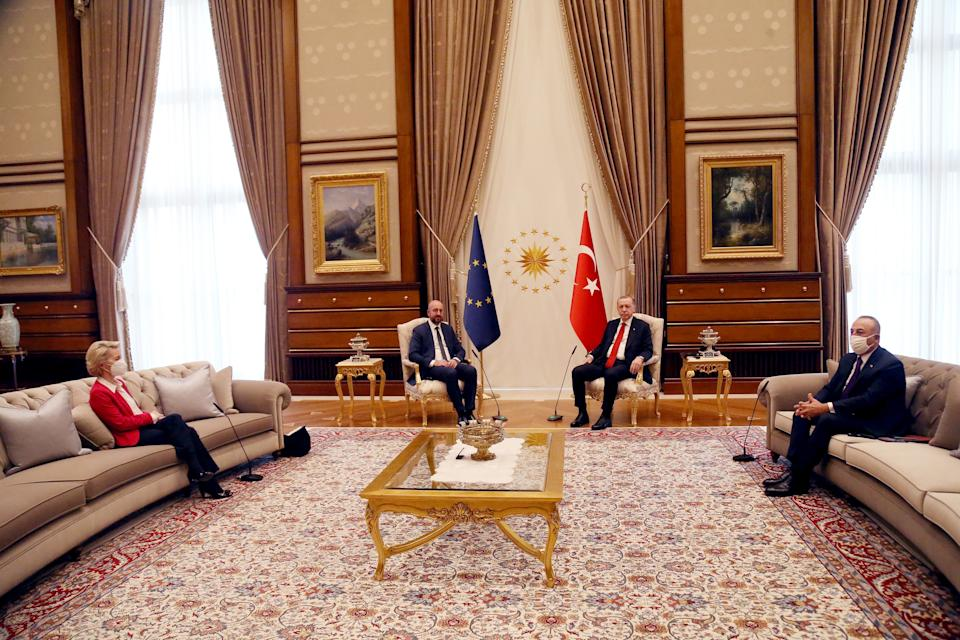 ANKARA, April 6, 2021 -- Turkish President Recep Tayyip Erdogan 2nd R meets with European Council President Charles Michel 2nd L and European Commission President Ursula von der Leyen 1st L in Ankara, Turkey, on April 6, 2021. Top officials of the European Union on Tuesday expressed readiness to work on concrete agenda with Turkey to push forward economy and migration cooperation between the two sides. (Photo by Mustafa Kaya/Xinhua via Getty) (Xinhua/Mustafa Kaya via Getty Images)