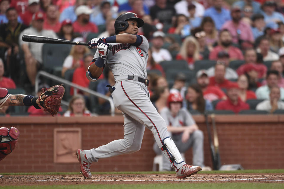 Minnesota Twins' Luis Arraez watches his RBI-double during the third inning of a baseball game against the St. Louis Cardinals on Saturday, July 31, 2021, in St. Louis. (AP Photo/Joe Puetz)