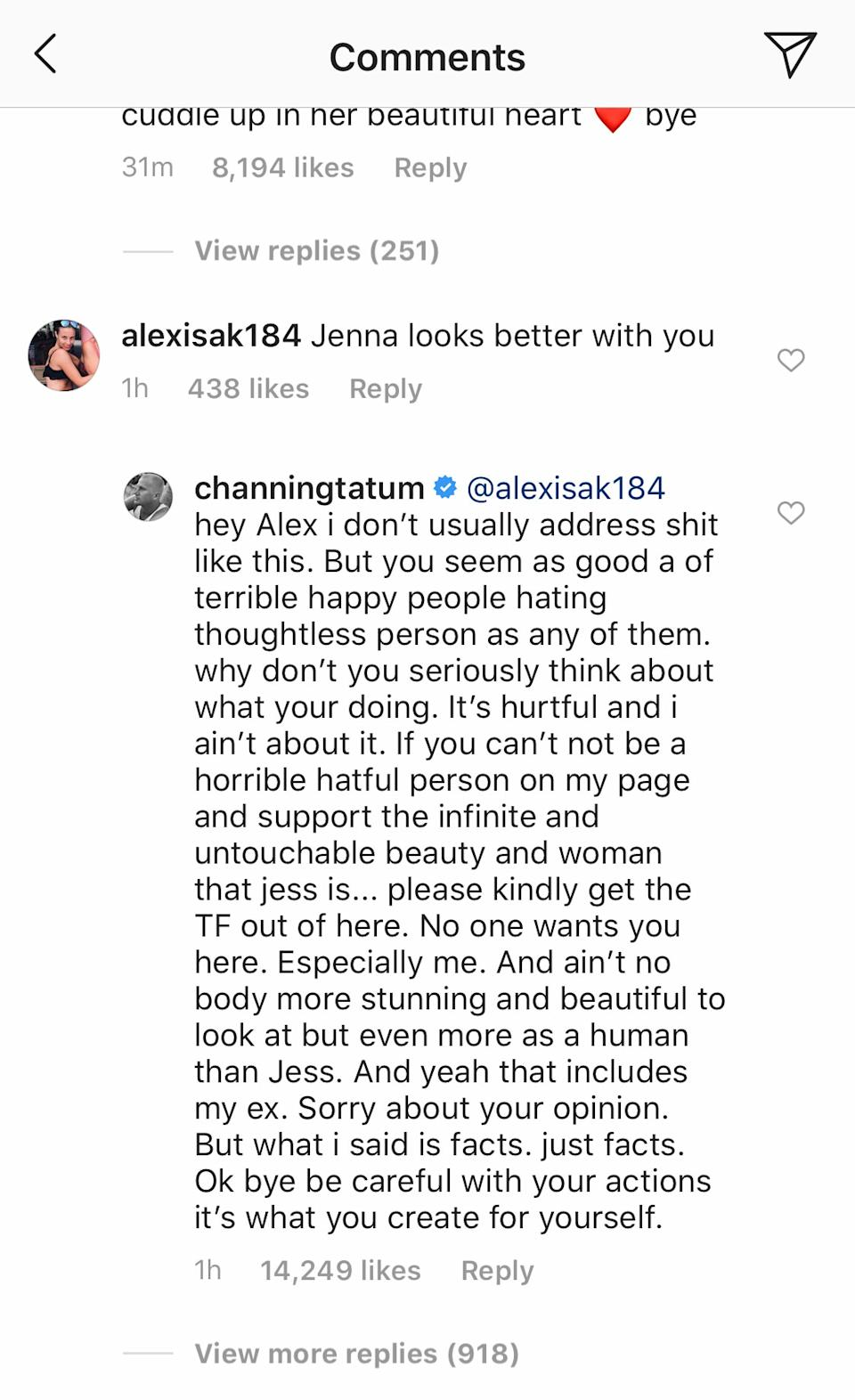Channing's fiery reply has since been removed along with all comments on the post. Photo: Instagram/channingtatum.