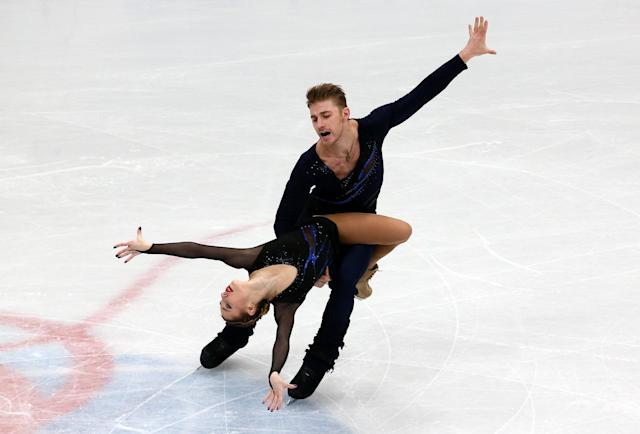 Figure Skating - World Figure Skating Championships - The Mediolanum Forum, Milan, Italy - March 21, 2018 Russia's Kristina Astakhova and Alexei Rogonov during the Pairs Short Programme REUTERS/Alessandro Bianchi