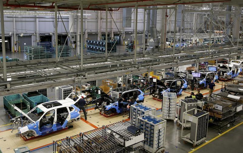 An overall view of the assembly line where the BMW X4 is made at the BMW manufacturing plant in Spartanburg