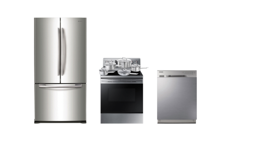 "Samsung 33"" French Door Refrigerator; Electric Range; Dishwasher; Cookware Package. Image via Best Buy."