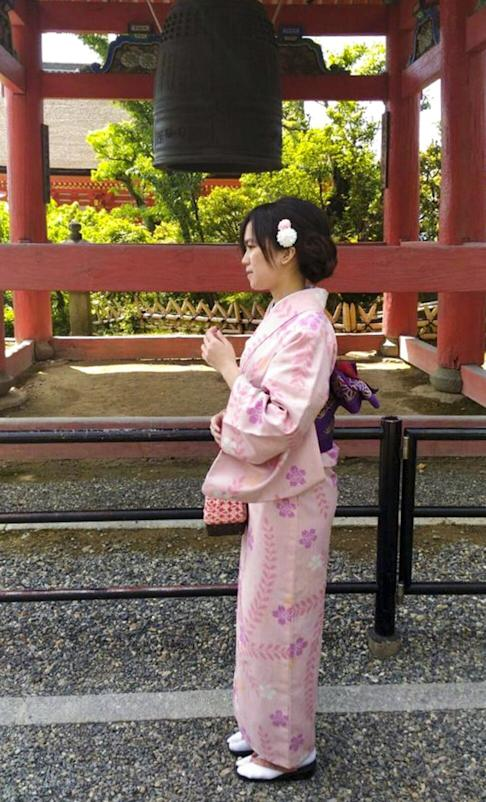 Poon Hiu-wing poses in a kimono during a family trip to Japan. Photo: Handout