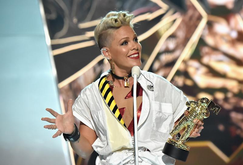 """I'm just trying to make her more resilient,"" Pink said of her daughter.  (Jeff Kravitz via Getty Images)"