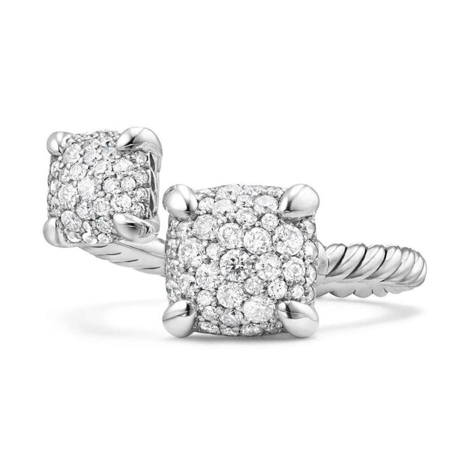 """<p>They'll be over the moon for the unique look of the <a href=""""https://www.popsugar.com/buy/David-Yurman-Ch%C3%A2telaine-Bypass-Ring-Diamonds-532233?p_name=David%20Yurman%20Ch%C3%A2telaine%20Bypass%20Ring%20With%20Diamonds&retailer=shop.nordstrom.com&pid=532233&price=2%2C900&evar1=fab%3Aus&evar9=7954958&evar98=https%3A%2F%2Fwww.popsugar.com%2Fphoto-gallery%2F7954958%2Fimage%2F47021281%2FDavid-Yurman-Ch%C3%A2telaine-Bypass-Ring-With-Diamonds&list1=shopping%2Cwedding%2Cjewelry%2Crings%2Cbride%2Cengagement%20rings%2Cfashion%20shopping&prop13=api&pdata=1"""" rel=""""nofollow noopener"""" class=""""link rapid-noclick-resp"""" target=""""_blank"""" data-ylk=""""slk:David Yurman Châtelaine Bypass Ring With Diamonds"""">David Yurman Châtelaine Bypass Ring With Diamonds </a> ($2,900).</p>"""
