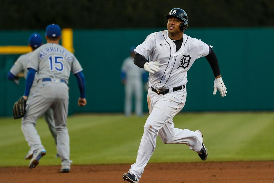 Detroit Tigers second baseman Jonathan Schoop (7) runs towards third base after batting a triple against Kansas City Royals during third inning at Comerica Park in Detroit on Tuesday, May 11, 2021.