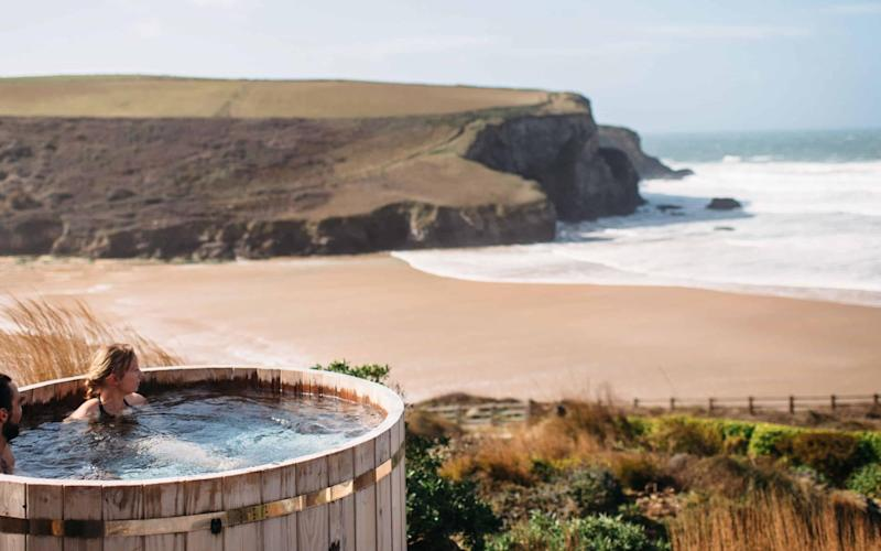 The sea-view hot tub at The Scarlet, Cornwall - The Scarlet
