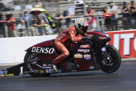 In this photo provided by the NHRA, Pro Stock Motorcycle points leader Matt Smith wins the Lucas Oil NHRA Winternationals over Angelle Sampey in the final round thanks to his 6.828-second run at 199.52 mph, Sunday, Aug. 1, 2021, in Pomona, Calif. (Jerry Foss/NHRA via AP)