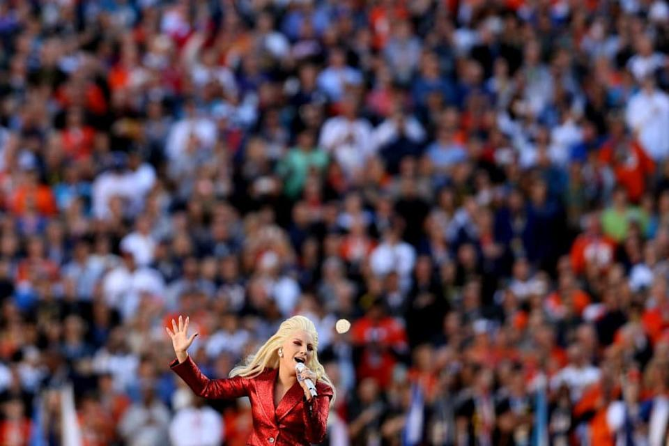 Lady Gaga performs the National Anthem at the Super Bowl 50, 2016. (Patrick Smith/Getty Images)