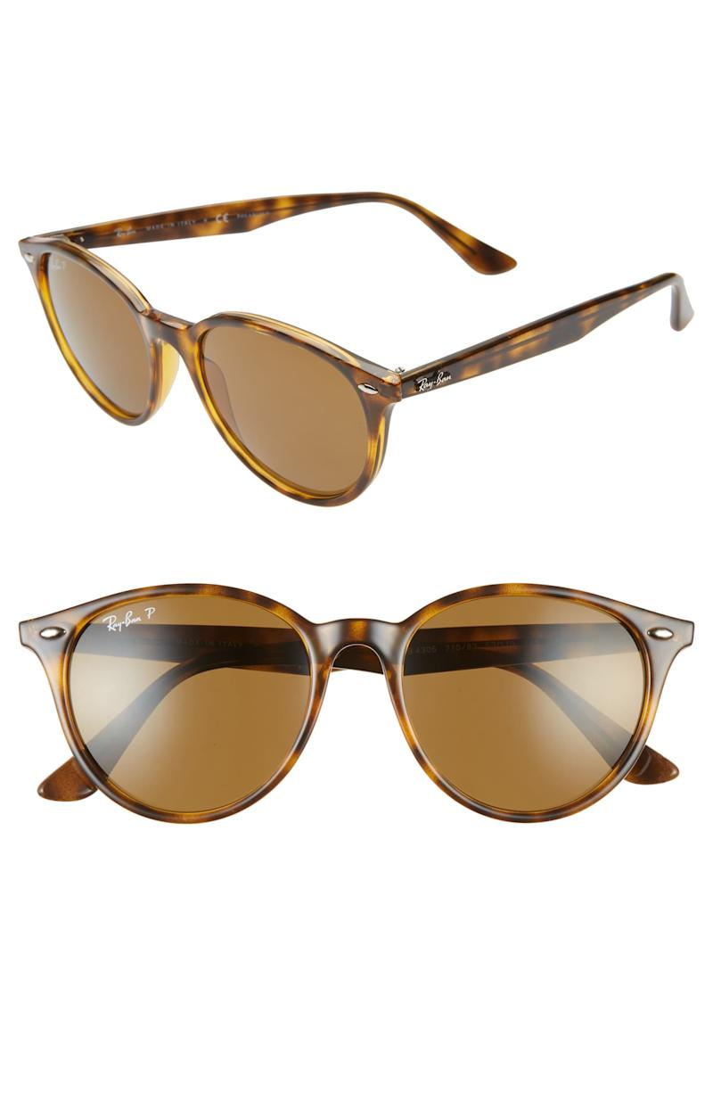 Ray Ban Phantos 53mm Polarized Round Sunglasses in Havana brown