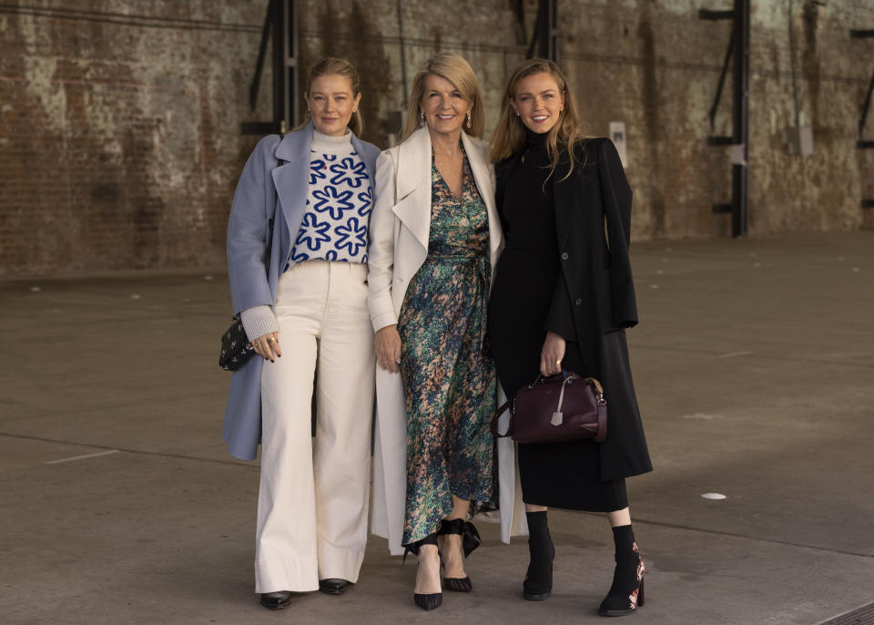 SYDNEY, AUSTRALIA - JUNE 01: Grace Forrest is seen wearing Ginger & Smart with RM Williams boots and a Marc Jacobs bag; Julie Bishop wears Ginger & Smart with Christian Louboutin shoes and Sophia Forrest wears Ginger & Smart with an Alexander McQueen handbag and Fendi bag at Afterpay Australian Fashion Week 2021 on June 1, 2021 in Sydney, Australia. (Photo by Matt Jelonek/WireImage)