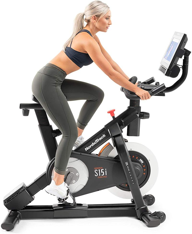 You go, girl—on this pro-level NordicTrack Commercial Studio Cycle Bike. (Photo: Amazon)