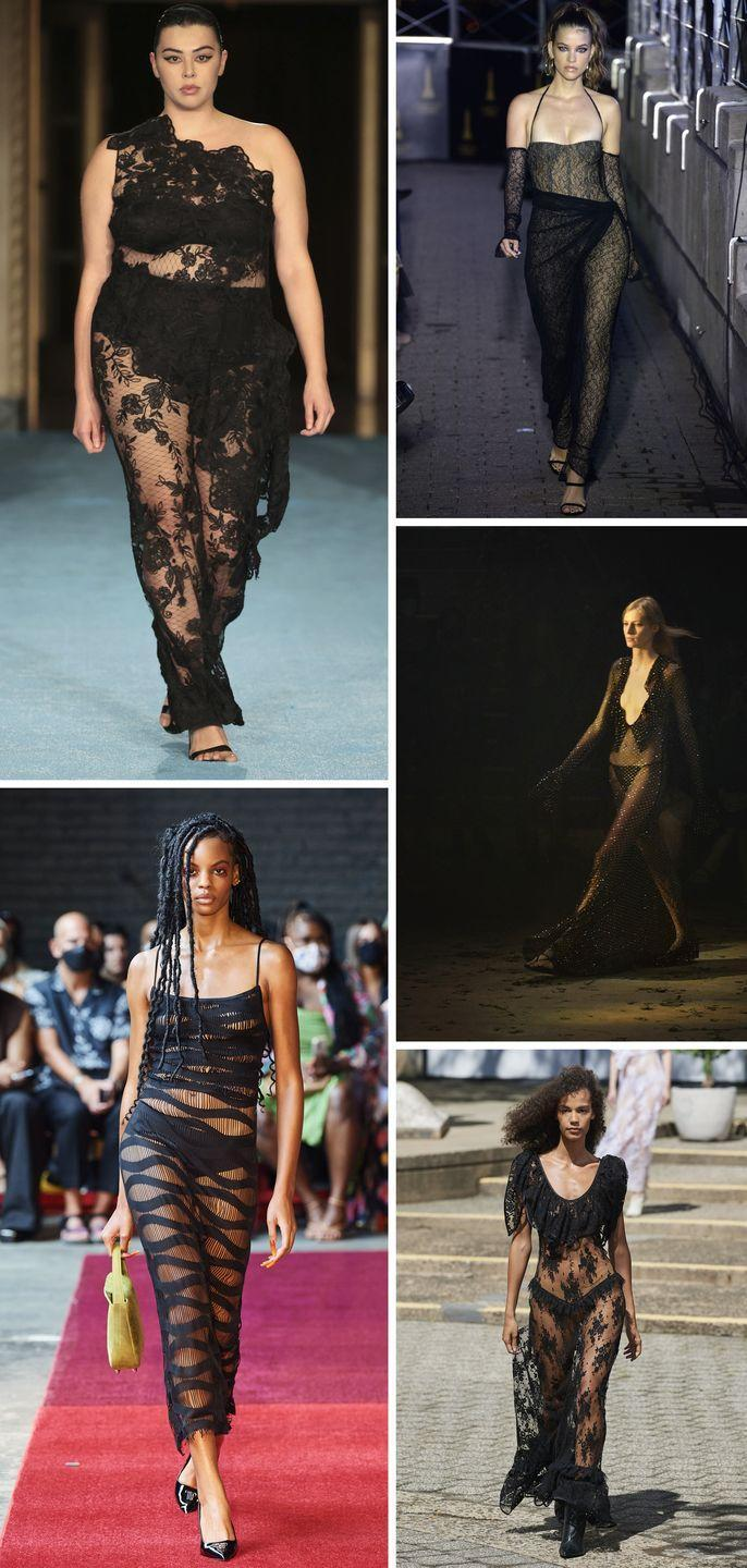<p>Haven't you heard? The naked dress is back. This time designers are leaning in to all-black versions in sheer lace, paired with high-waisted underwear or more demure bikini briefs. It's eveningwear that doesn't leave a lot to the imagination but is also impossibly sexy.</p><p><em>Pictured clockwise: Christian Siriano, LaQuan Smith, Khaite, Rodarte, Theophilio.</em></p>