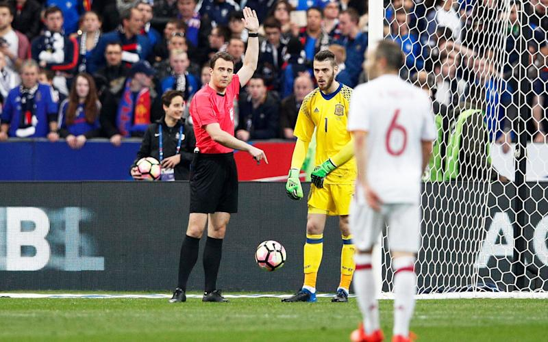 Antoine Griezmann's header was ruled out for offside after the video referee overruled the linesman - EPA