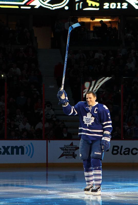 OTTAWA, ON - JANUARY 28: Dion Phaneuf #3 of the Toronto Maple Leafs and team Chara skates on the ice during introductions prior to the 2012 Molson Canadian NHL All-Star Skills Competition at Scotiabank Place on January 28, 2012 in Ottawa, Ontario, Canada. (Photo by Bruce Bennett/Getty Images)