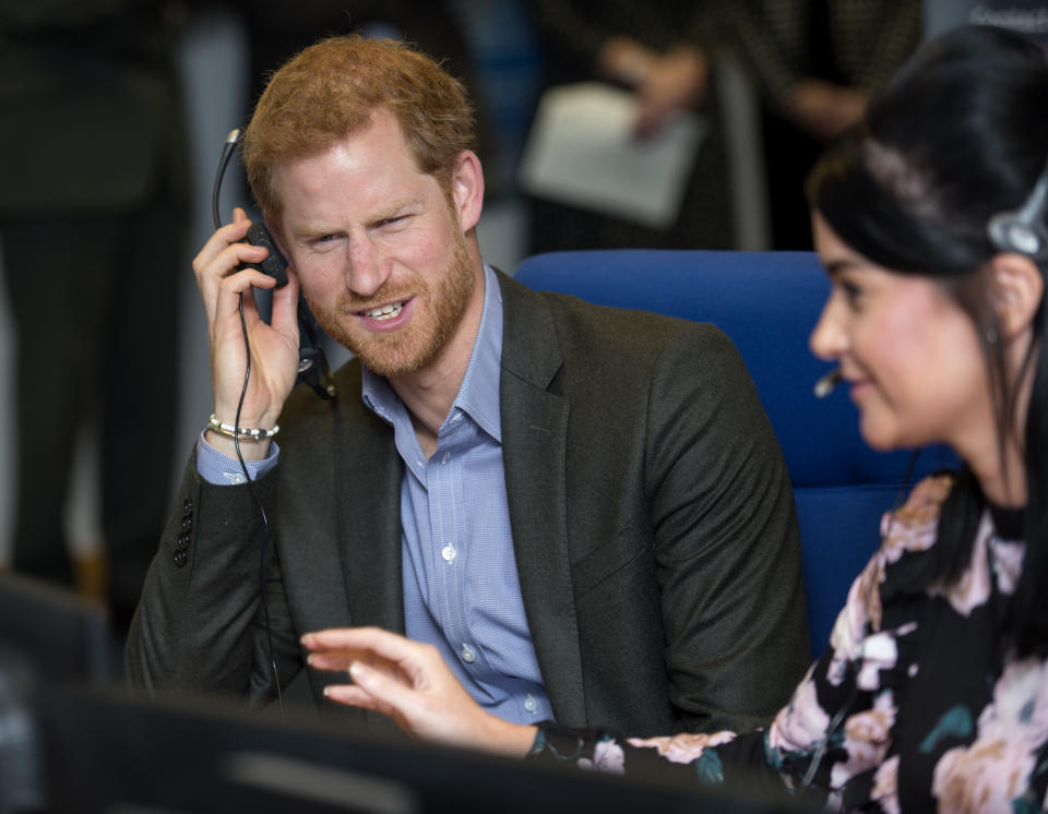 NORCROSS, ENGLAND - OCTOBER 23:  Prince Harry answers calls from veterans in the call centre during his visit to Veterans UK to mark the 25th anniversary of the Veterans UK Helpline Service on October 23, 2017 in Norcross, England.  (Photo by Andy Stenning - WPA Pool/Getty Images)
