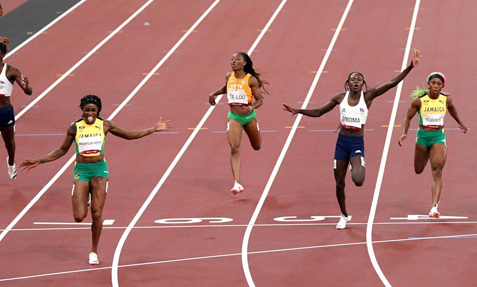 Elaine Thompson-Herah (front left) is among those to have broken records in Tokyo (Martin Rickett/PA) (PA Wire)