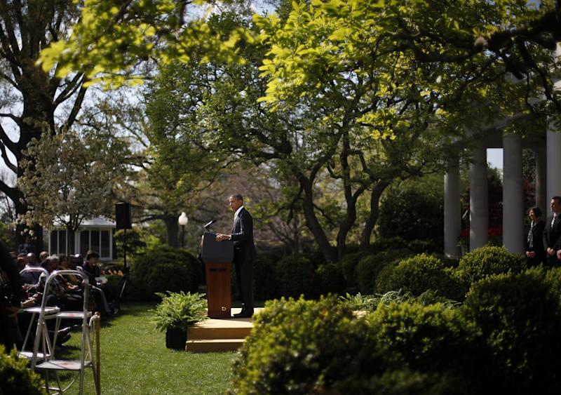 President Barack Obama speaks in the Rose Garden of the White House in Washington, Thursday, March 29, 2012, to urge Congress to eliminate tax breaks for oil and gas companies. (AP Photo/Pablo Martinez Monsivais)