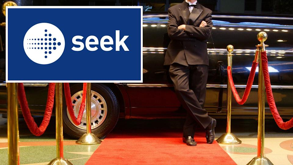 SEEK logo, man in tuxedo stands in front of limousine at Hollywood red carpet premier.