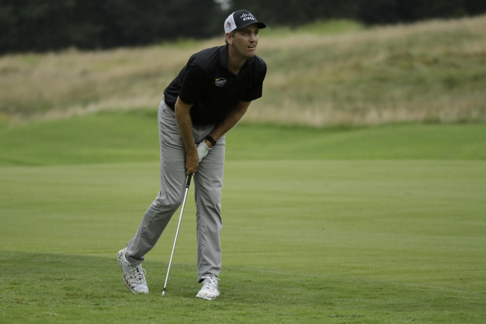 Brendon Todd watches his shot from the rough on the seventh hole during the third round of the World Golf Championship-FedEx St. Jude Invitational Saturday, Aug. 1, 2020, in Memphis, Tenn. (AP Photo/Mark Humphrey)