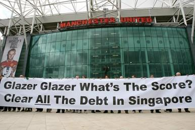 Anti-Glazer protest at Manchester United's Old Trafford ground