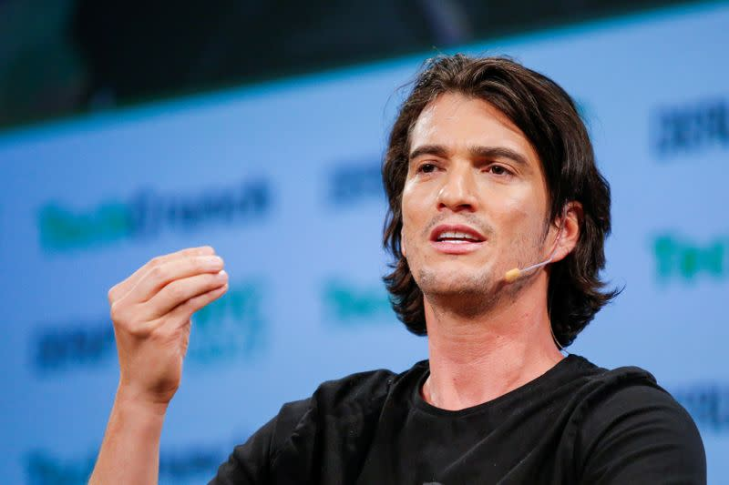 Neumann, CEO of WeWork, speaks to guests during the TechCrunch Disrupt event in Manhattan, in New York City