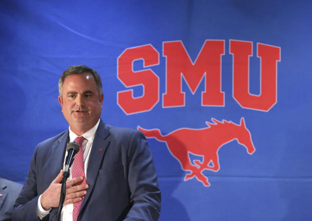 FILE - In this Dec. 12, 2017, file photo, new SMU football coach Sonny Dykes speaks after his introduction in Dallas. Dykes is a former Louisiana Tech and California coach who last season was an offensive analyst at TCU. SMU plays TCU this week. (AP Photo/LM Otero, File)