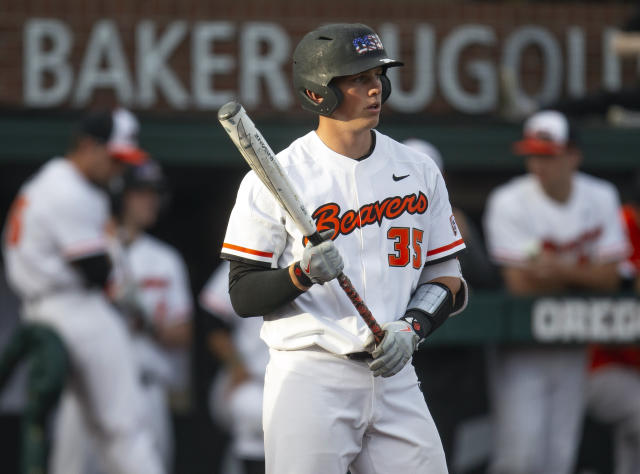 FILE - In this April 26, 2019, file photo, Oregon State's Adley Rutschman gets set to bat against Washington State during an NCAA baseball game in Corvallis, Ore.The Oregon State catcher and top overall draft pick is the winner of the Dick Howser Trophy as college baseball player of the year, the National Collegiate Baseball Writers Association announced Saturday, June 15, 2019. (AP Photo/Chris Pietsch, File)