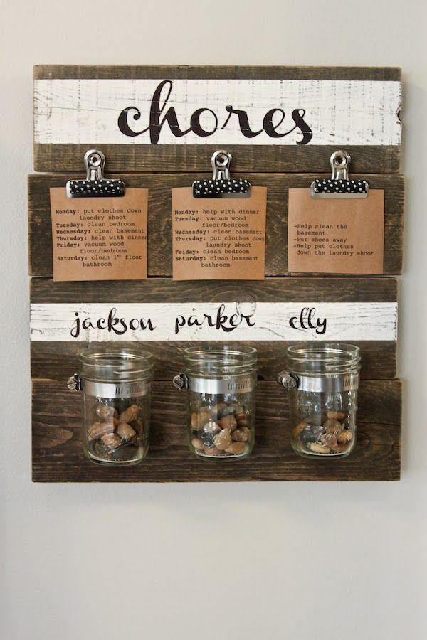 """<p>Not only will this chore chart hold your kids accountable for helping out around the house, but it will also look amazing with the rest of your rustic chic decor.</p><a href=""""http://www.colorsandcraft.com/2013/01/diy-chore-chart/"""" rel=""""nofollow noopener"""" target=""""_blank"""" data-ylk=""""slk:Get the tutorial at Colors and Craft."""" class=""""link rapid-noclick-resp""""><strong><em>Get the tutorial at Colors and Craft.</em></strong></a>"""